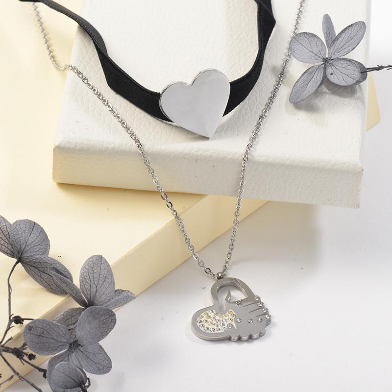 Collares de Acero Inoxidable para Mujer -SSNEG142-25504