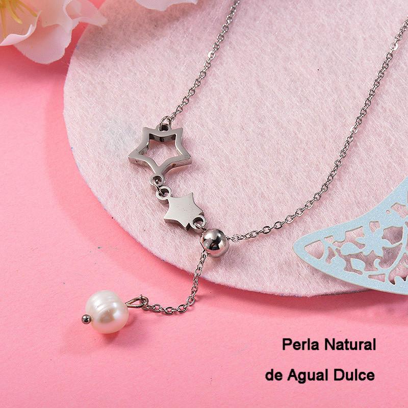 Collares con perla Natural en acero inoxidable -SSNEG143-13014
