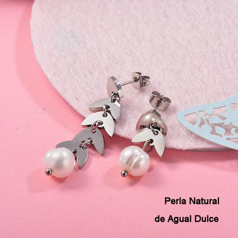 Aretes con perla Natural en acero inoxidable -SSEGG143-9128