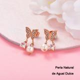 Aretes con perla Natural en acero inoxidable -SSEGG143-9298