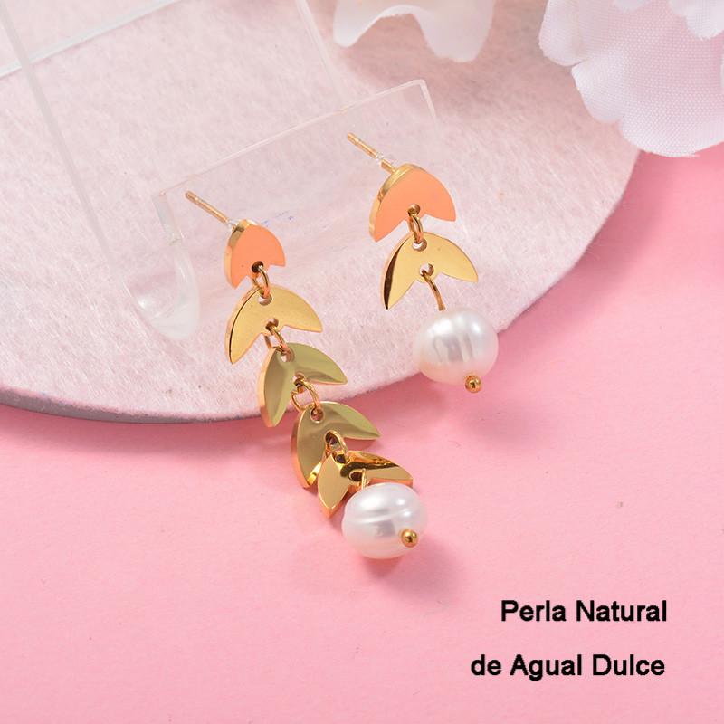 Aretes con perla Natural en acero inoxidable -SSEGG143-9126