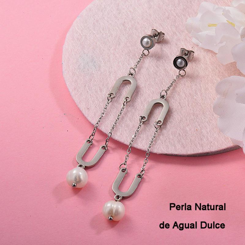 Aretes con perla Natural en acero inoxidable -SSEGG143-9305