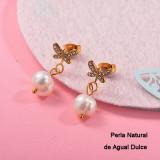 Aretes con perla Natural en acero inoxidable -SSEGG143-9313