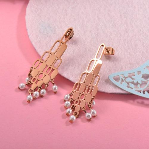 Aretes con perla Natural en acero inoxidable -SSEGG143-9292