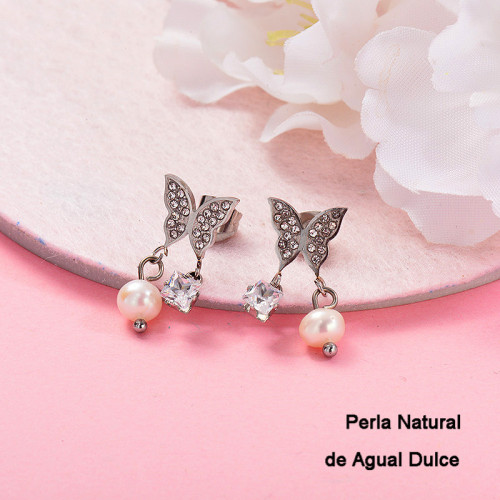 Aretes con perla Natural en acero inoxidable -SSEGG143-9303