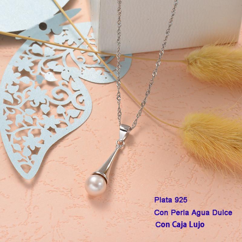 Collares de Plata 925 con perla agua dulce -PLNEG191-25431