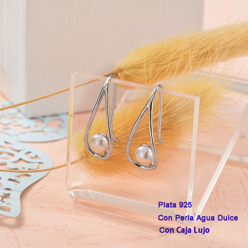 Aretes de Plata 925 con perla agua dulce -PLEGG191-25435