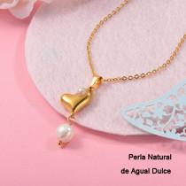Collares con perla Natural en acero inoxidable -SSNEG143-12076