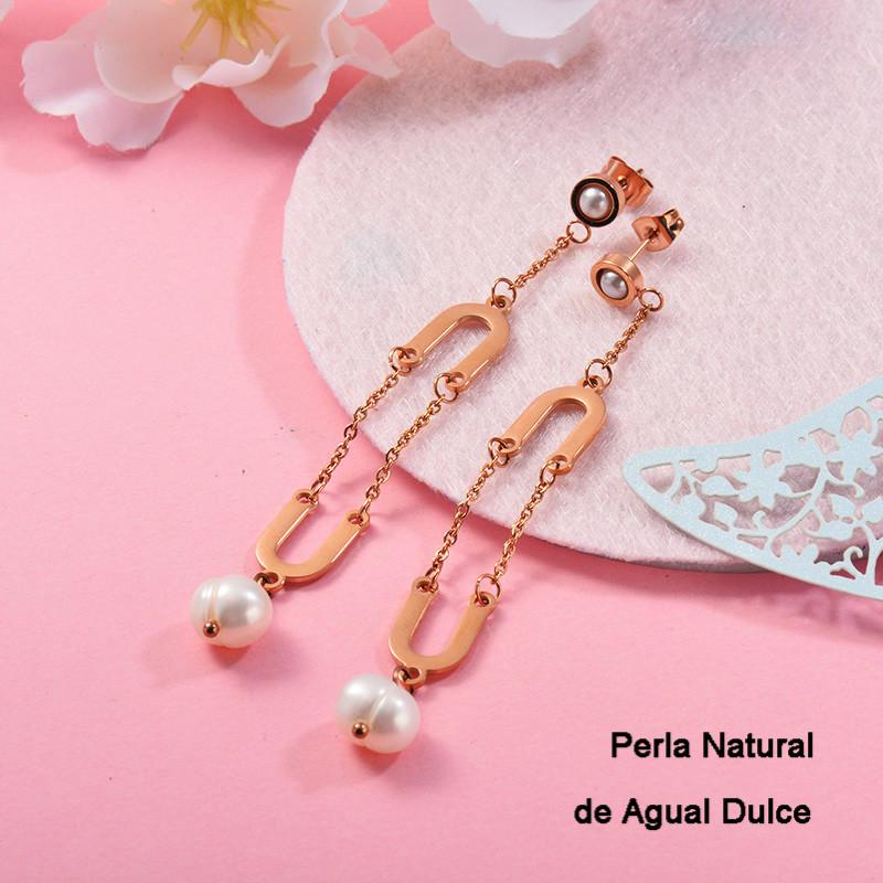 Aretes con perla Natural en acero inoxidable -SSEGG143-9290