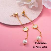 Aretes con perla Natural en acero inoxidable -SSEGG143-9110