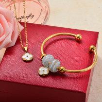 Conuntos de Collar y Pulseras en Acero Inoxidable para Mujer -SSBNG142-27381