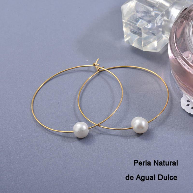 Aretes de Perla Agua Dulce en Acero Inoxidable para Mujer -SSEGG142-27413
