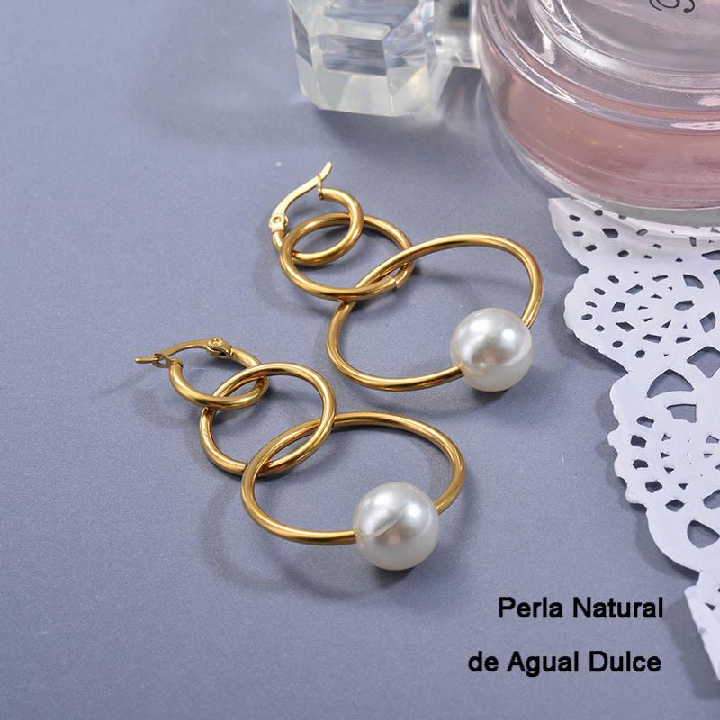 Aretes de Perla Agua Dulce en Acero Inoxidable para Mujer -SSEGG142-27415