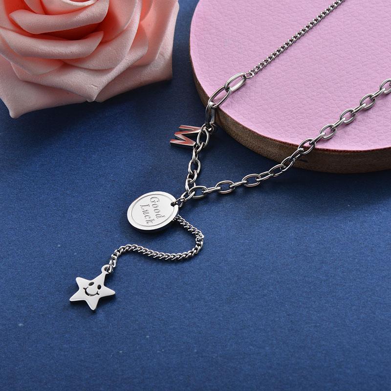 Collares de Acero Inoxidable para Mujer -SSNEG157-28404