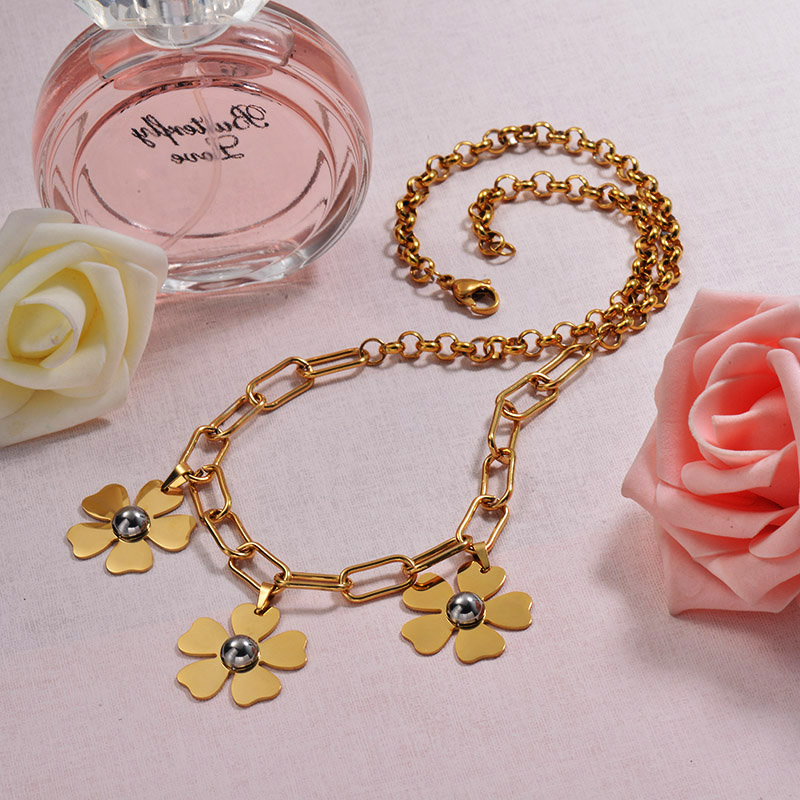 18K Gold Plated Flower Statement Necklace
