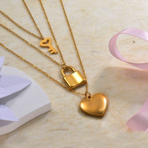 18k Gold Plated Key Lock Heart Three Layered Necklace