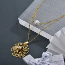 Stainless Steel Flower Pearl Double Layered Necklace for Ladies