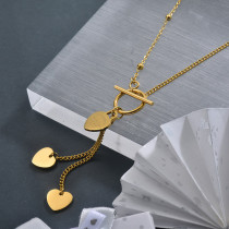 Ins 18K Gold Plated Tassel Heart Necklace