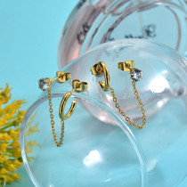 Chic Instgram Style Chain Link Cuff Huggies Earrings