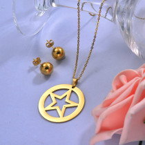 Wholesale Stainless Steel Star Necklace Sets with Earirng Jewelry Sets