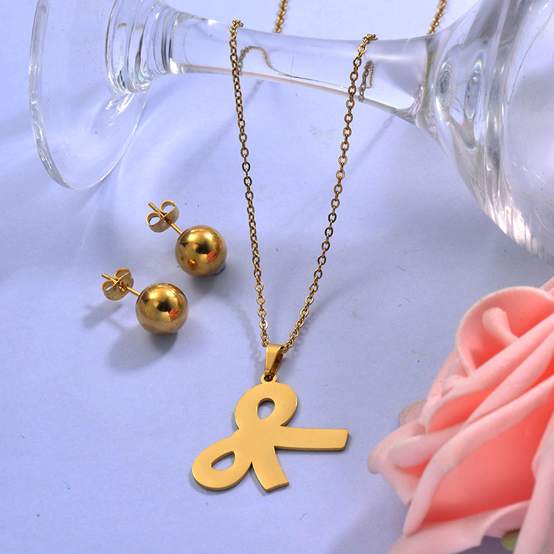 Wholesale Stainless Steel Ribbon Necklace Sets with Earirng Jewelry Sets