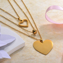 18k Gold Plated Three Layered Heart Necklace