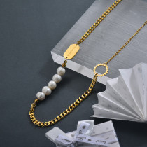 Fashion Fresh Water Pearl Necklace in Stainless Steel