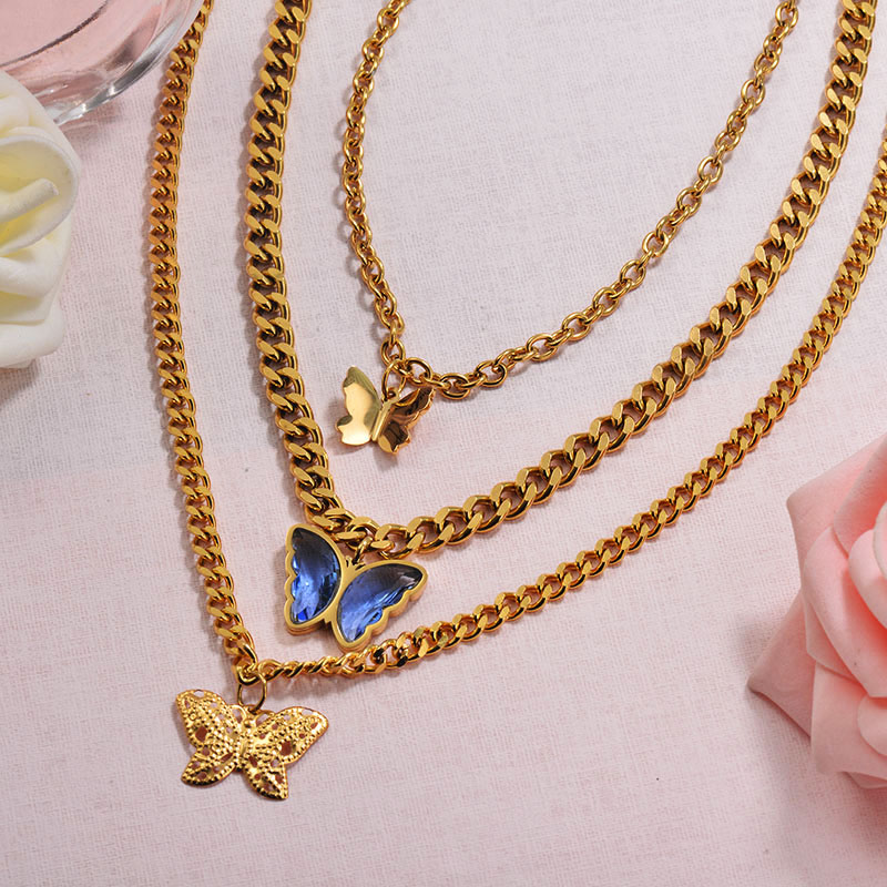 Chunky Crystal Butterfly Necklace Layered