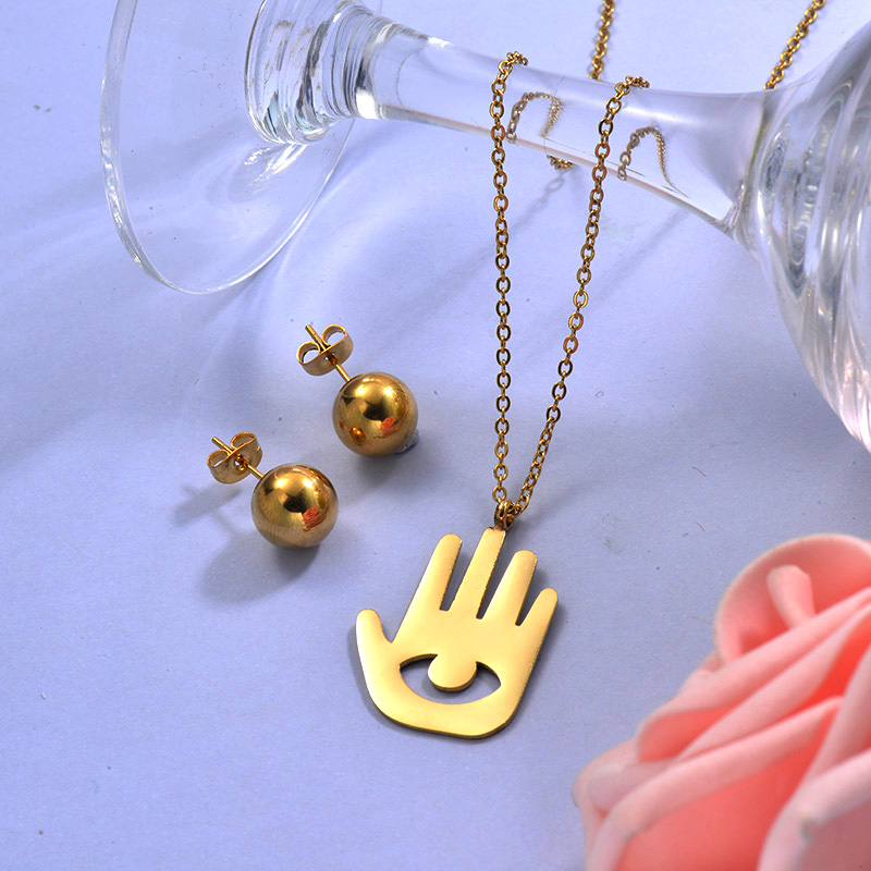 Wholesale Stainless Steel Hands Necklace Sets with Earirng Jewelry Sets