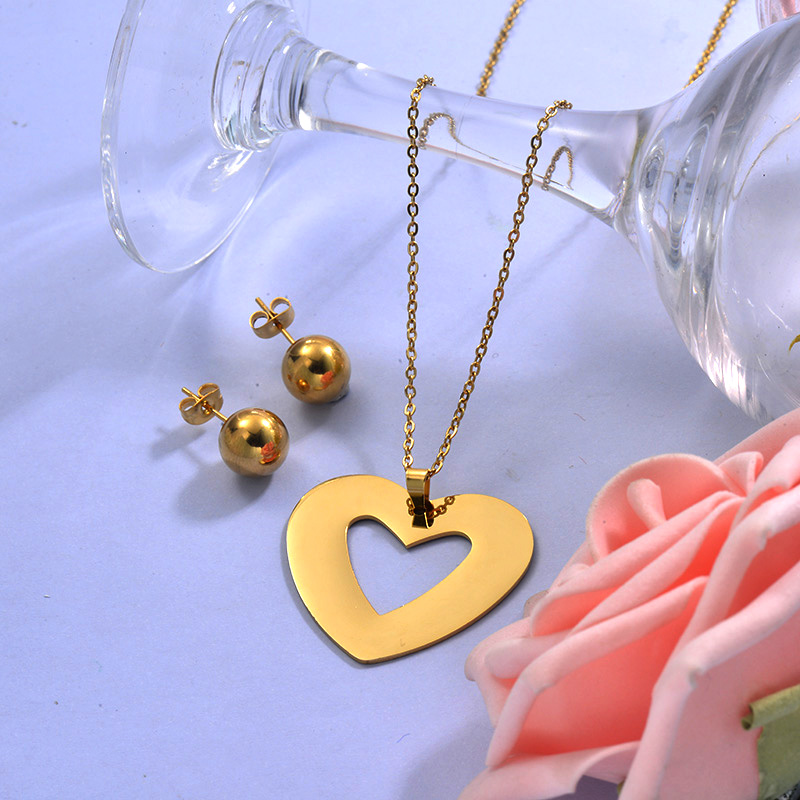 Wholesale Stainless Steel Heart Necklace Sets with Earirng Jewelry Sets