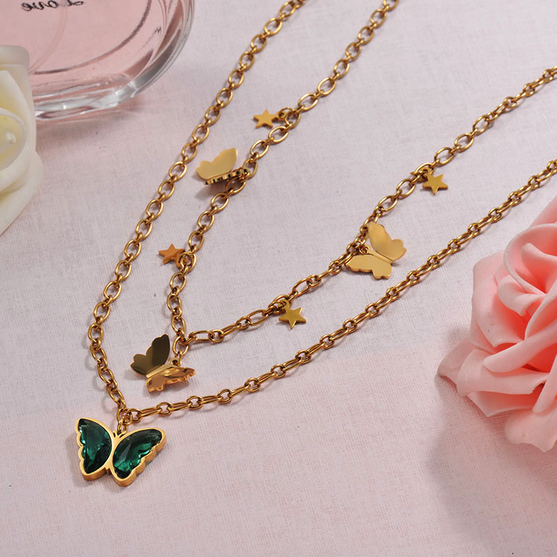 Charm Crystal Butterfly Double Layered Necklace