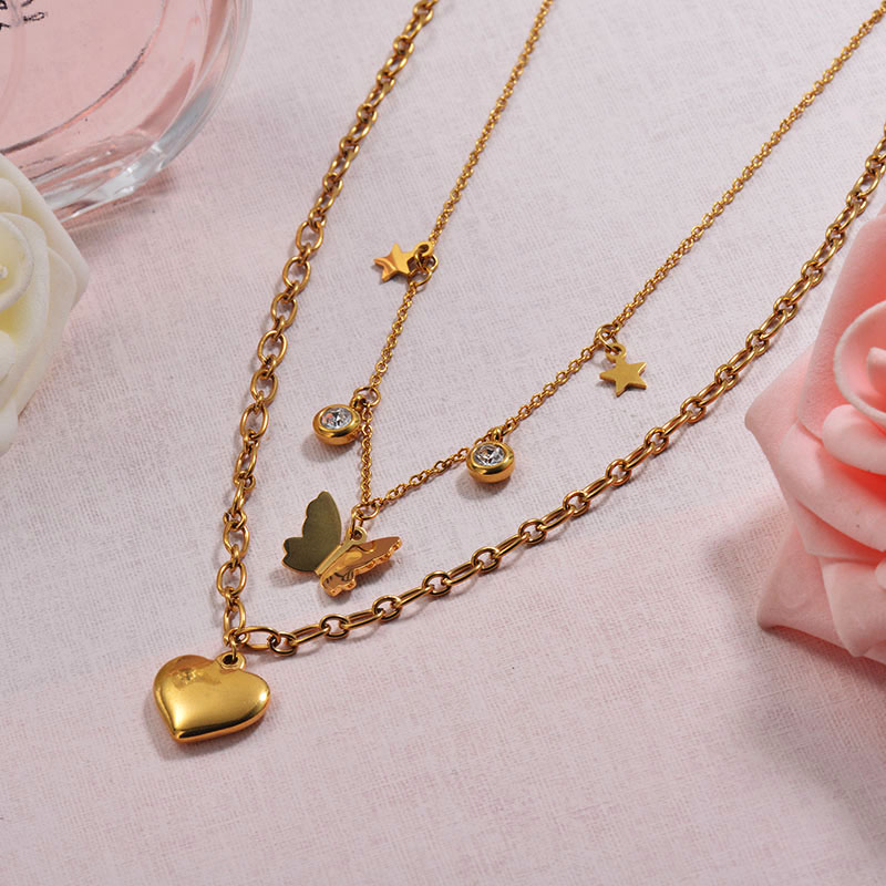 Butterfly Heart Double Layer Necklace in 18k Gold Plated