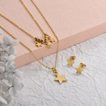 Stainless Steel Multilayer Star Necklace Sets -SSCSG142-29577