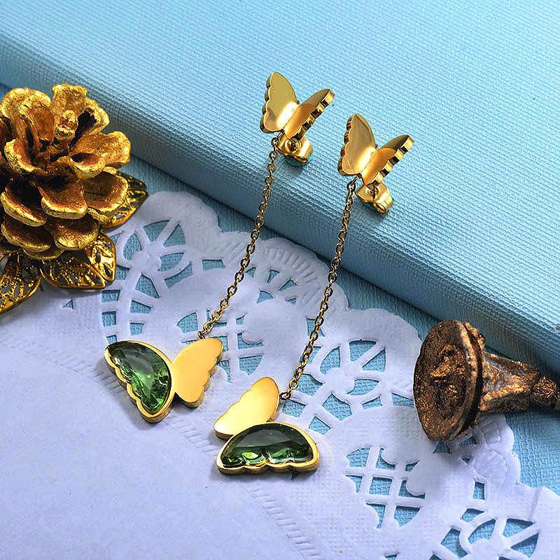 Stainless Steel Butterfly Drop Earrings -SSEGG142-29671