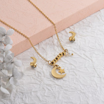 Stainless Steel Heart and Moon Multilayer Necklace Sets -SSCSG142-29576