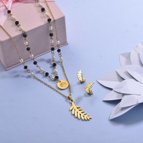 Stainless Steel Beaded Multilayer Necklace Sets -SSCSG142-29619