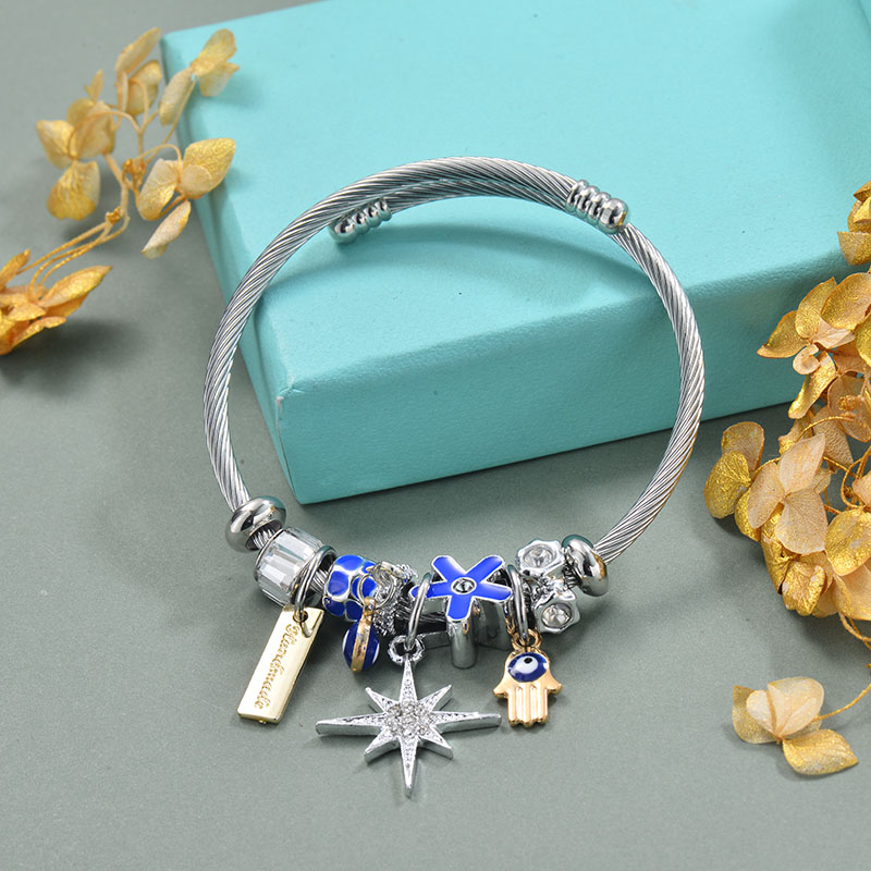 Brass Charm Bangle Bracelets for Women -BRBTG89-29361