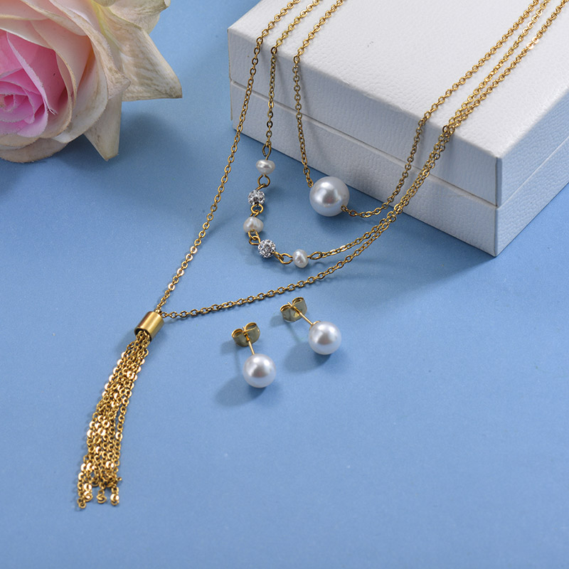 Stainless Steel Beaded Tassel Necklace Sets -SSCSG142-29611