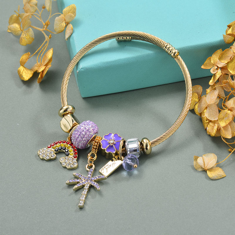Brass Charm Bangle Bracelets for Women -BRBTG89-29368