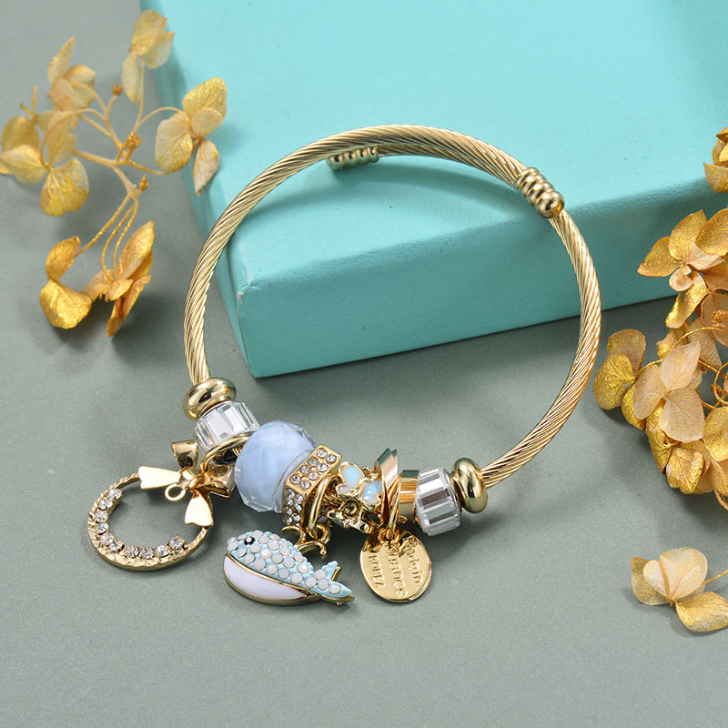 Brass Charm Bangle Bracelets for Women -BRBTG89-29369