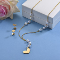 Stainless Steel Heart Beaded Necklace Sets -SSCSG142-29616