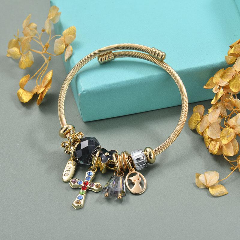 Brass Charm Bangle Bracelets for Women -BRBTG89-29365