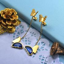 Stainless Steel Butterfly Drop Earrings -SSEGG142-29667