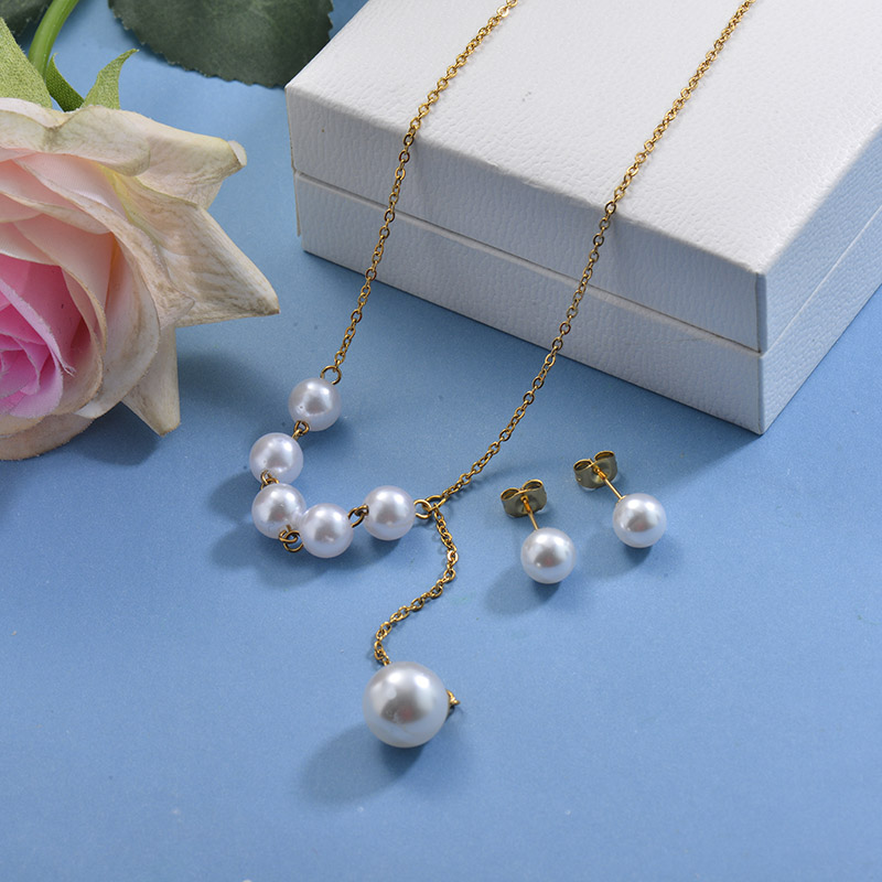Stainless Steel Pearl Necklace Sets -SSCSG142-29607