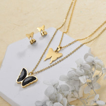Stainless Steel Butterfly Multilayer Necklace Sets -SSCSG142-29567