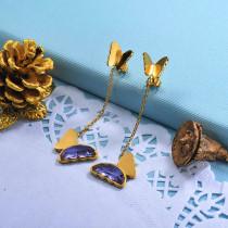 Stainless Steel Butterfly Drop Earrings -SSEGG142-29672