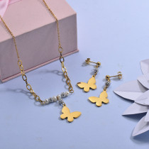 Stainless Steel Butterfly Necklace Sets -SSCSG142-29618