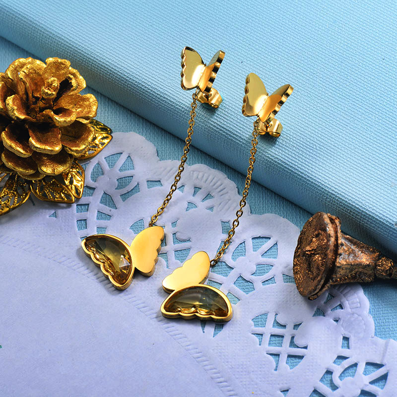 Stainless Steel Butterfly Drop Earrings -SSEGG142-29669