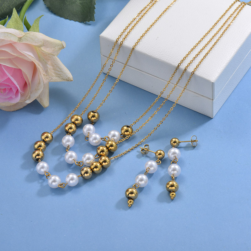 Stainless Steel Beaded Multilayer Necklace Sets -SSCSG142-29606