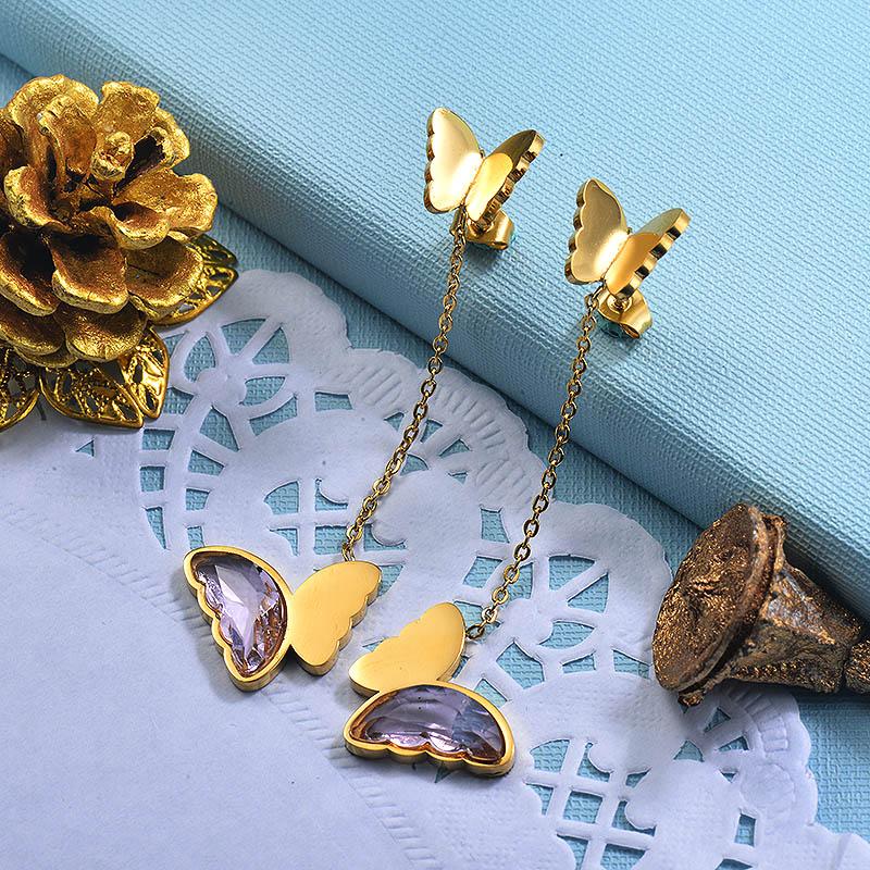 Stainless Steel Butterfly Drop Earrings -SSEGG142-29670